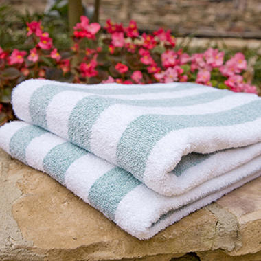 Riegel Cabana Stripe Pool Towel - 35 x 70 - 6 Pk. Spa Green