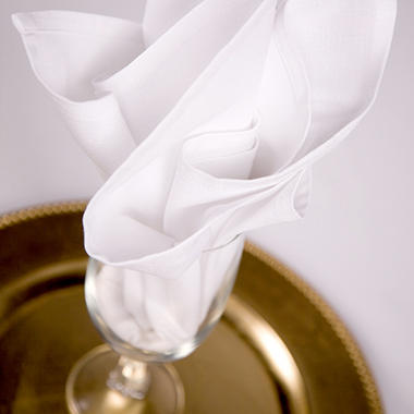 "Riegel® Cotton Momie Napkins - 20"" x 21"" - White - 24 ct."