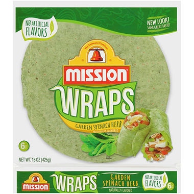 Mission Garden Spinach Herb Tortillas - 6 ct. - 15 oz. bag