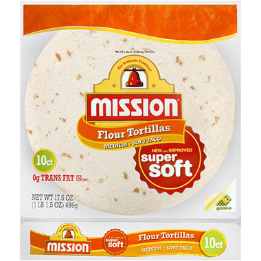 Mission Flour Medium Soft Taco - 10 ct. 0 17.5 oz. bag