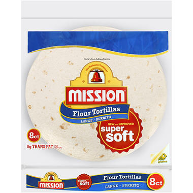 Mission Flour Tortillas - Large Burrito - 8 ct. - 20 oz. bag