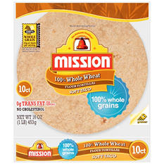 Mission Flour Whole Wheat Medium Soft Taco (10 ct., 16 oz.)