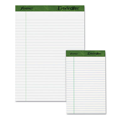 Earthwise Ampad - Earthwise 100% Recycled Perforated Pads - Jr. Legal Rule - 5 x 8 - White - 12/Pack