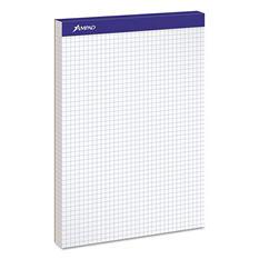 Ampad Double Sheet Quad Pad - Letter - White - 100-Sheet Pad