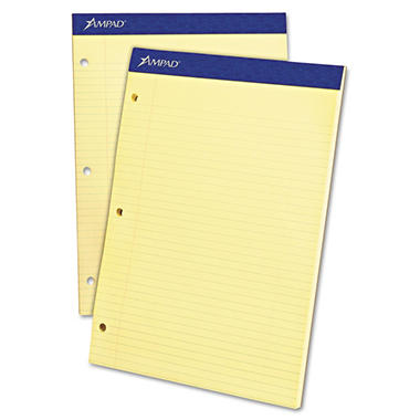 "Ampad Evidence Pad -  Dual College/Med Ruled -  8 1/2"" x 11 3/4""  -  Canary - 100 Sheets"