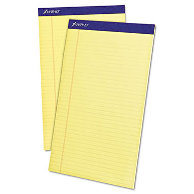 Ampad - Writing Pad - Legal Rule - Legal - Canary - Micro Perf - 12 50-Sheet Pads - Dozen