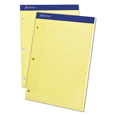 "Ampad Evidence Dual Ruled Pad -  Legal/Wide Rule -  8 1/2"" x 11 3/4""  -  Canary - 100 Sheets"