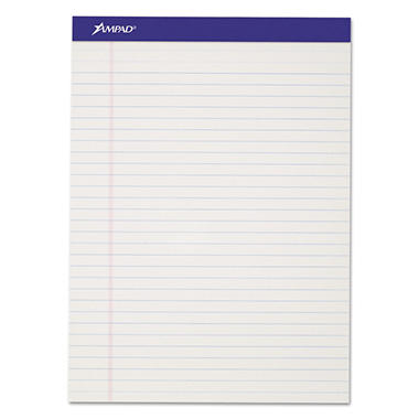 Ampad - Evidence Perf Top, Legal Rule, Letter, White, 50-Sheet Pads/Pack - Dozen
