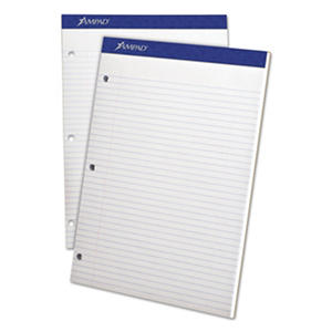 "Ampad Evidence Pad -  Dual College/Med Ruled -  8 1/2"" x 11 3/4""  -  White - 100 Sheets"