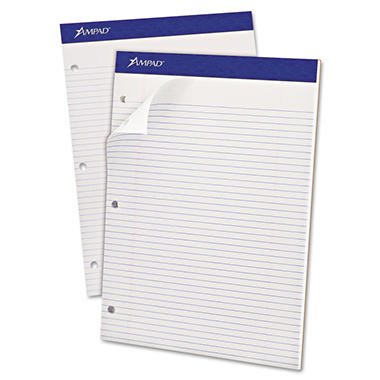 "Ampad Evidence Dual Narrow/Margin Ruled Pad -  8 1/2"" x 11 3/4""  -  White - 100 Sheets"