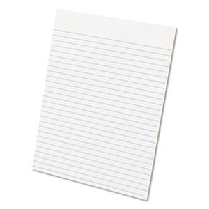 Ampad - Glue Top Ruled Pads - Wide Rule - Letter - White - 50-Sheet Pads/Pack - Dozen