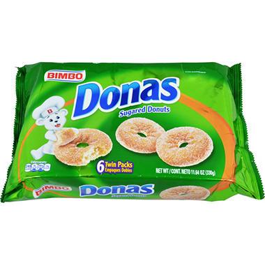Donas Sugared Twin Packs - 6 ct. tray