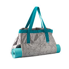 Lotus Yoga Tote and Mat, Gray and Teal