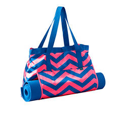 Lotus Yoga Mat and Tote, Blue and Pink