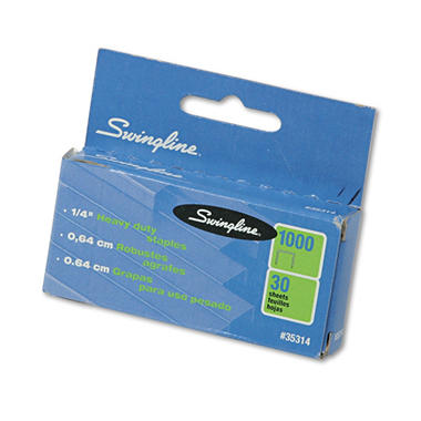 Swingline - S.F. 13 Heavy-Duty 1/4 Inch Leg Length Staples, 25-Sheet Capacity - 1,000 Pack