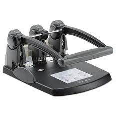 "Swingline - Extra High-Capacity Three-Hole Punch, 9/32"" Holes -  Black/Gray"