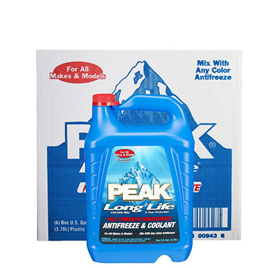 Peak Long Life Antifreeze, (6) 1-gallon bottles)