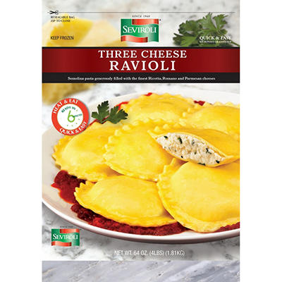 Seviroli Three Cheese Round Ravioli - 4 lbs.