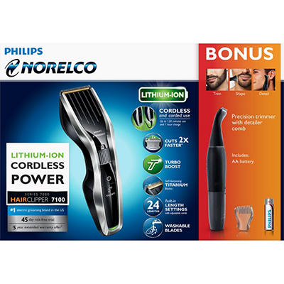 Philips Norelco Hair Clipper 7100 with Bonus Precision Trimmer