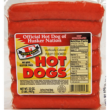 Fairbury Brand Red Hot Dogs - 3 lbs.