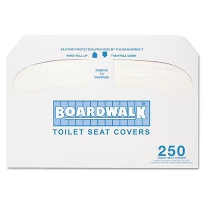 Boardwalk - Premium Half-Fold Toilet Seat Covers, 250 Covers/Sleeve -  10 Sleeves/Carton