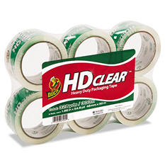 "Duck - Heavy-Duty Carton Packaging Tape, 1.88"" x 55 yds., Clear - 6 Rolls"
