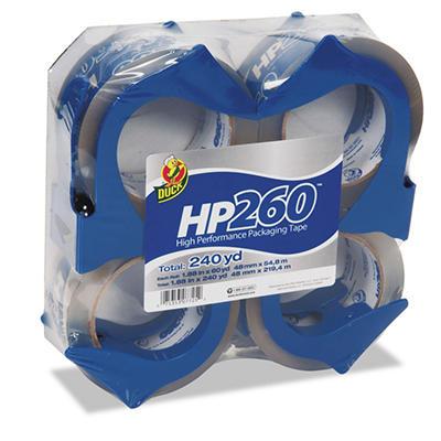 """Duck - Packaging Tape, 1.88"""" x 60YD - 4 Rolls w/Dispensers"""