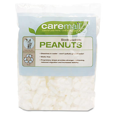 CareMail Biodegradable Peanuts, 0.34 Cubic Feet
