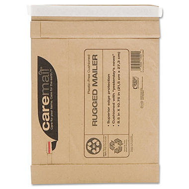 Caremail - Rugged Padded Mailer, Side Seam, 8 1/2 x 10 3/4, Light Brown, 25 Pack