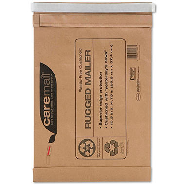 Caremail - Rugged Padded Mailer, Side Seam, 10 1/2x14 3/4, Light Brown, 25 Pack