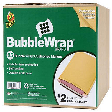 Duck Bubble Wrap® Brand Cusioned Mailers #2 - 25 pk.
