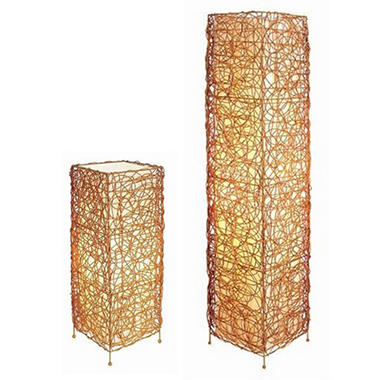 Rattan Contemporary Floor and Table Lamp Set