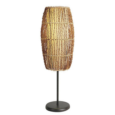 Tropical Rattan and Linen Table Lamp