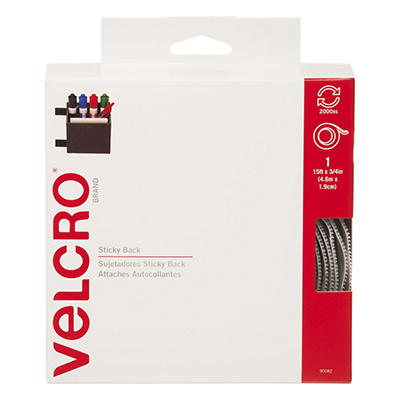 Velcro - Sticky-Back Hook and Loop Fastener Tape with Dispenser, 3/4 x 15 ft. Roll - White