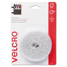 Velcro - Sticky-Back Hook and Loop Fastener Tape with Dispenser, 3/4 x 5 ft. Roll, White
