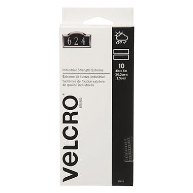 Velcro Extreme Indoor/Outdoor Hook and Loop Fasteners, 1 x 4 Strips, 10 Pack
