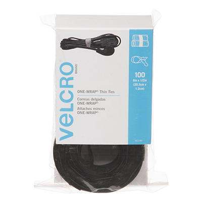 Velcro - Reusable Self-Gripping Cable Ties, 1/2 x Eight Inches, Black, 100 Ties per Pack
