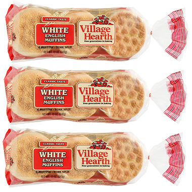 Village Hearth� English Muffins - 12 oz. - 3 pkgs.