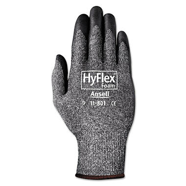 AnsellPro HyFlex Foam Gloves, Dark Gray and Black (Size 10, Pack of 12)