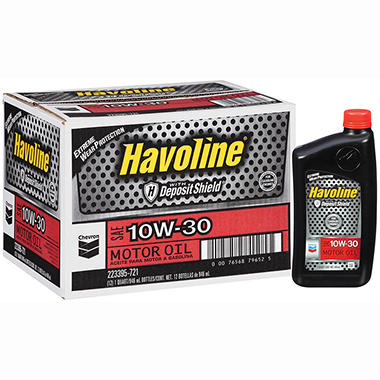 Chevron Havoline w/Deposit Shield 10w30 Motor Oil - 1 Quart Bottles - 12 pk.