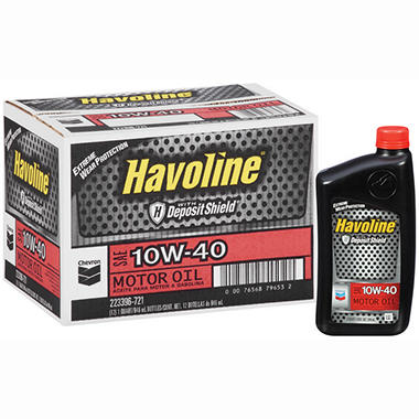Chevron Havoline w/Deposit Shield 10w40 Motor Oil - 1 Quart Bottles - 12 pk.