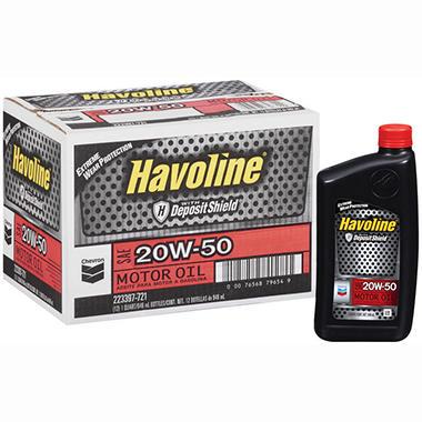 Chevron Havoline w/Deposit Shield 20w50 Motor Oil - 1 Quart Bottles - 12 pk.