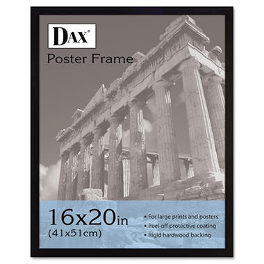 DAX - Flat Face Wood Poster Frame with Clear Plastic Window, 16 x 20 - Black