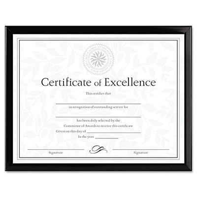 Dax Value U-Channel Document Frame w/Certificates, 8-1/2 x 11, Black