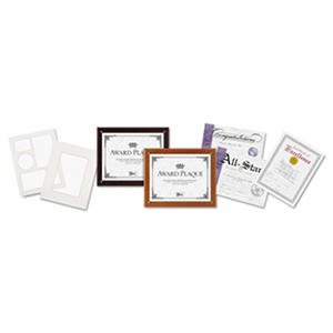 DAX - Plaque-In-An-Instant Kit w/Certificates/Mats, Wood/Acrylic 10-1/2 x 13 -  Mahogany