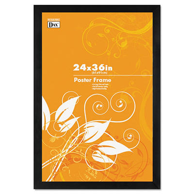 Dax Black Wood Poster Frame w/Plastic Window, Wide Profile, 24 x 36