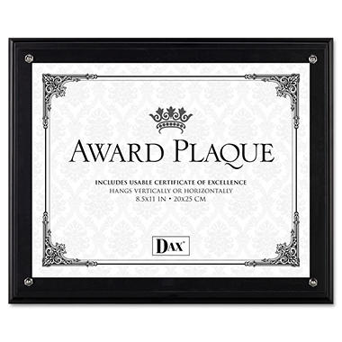 DAX Award Plaque, Wood/Acrylic Frame, fits up to 8-1/2 x 11, Black