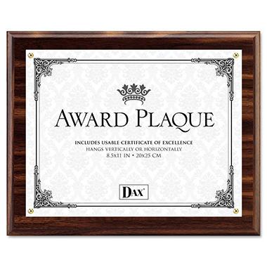 Dax Award Plaque, Wood/Acrylic Frame, fits up to 8-1/2 x 11, Walnut