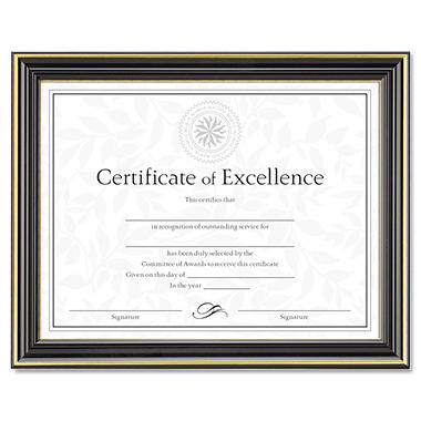 "Dax - Gold-Trimmed Document Frame w/Certificate, Wood, 8 1/2"" x 11""- Black"