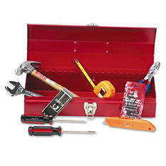 Great Neck 16-Piece Light-Duty Office Tool Kit and Metal Box - Red